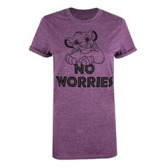 Disney Ladies - Lion King - No Worries - T-shirt - Heather Aubergine - X-Large