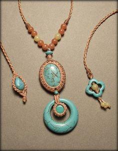 Macrame jewelry necklace with turquoise by Mabutirat on Etsy
