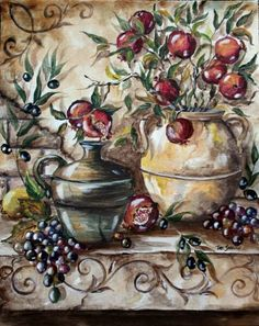 Pomegranates in Italian Pottery Tile Mural on Tumbled Marble tresorellehomedesigns.com