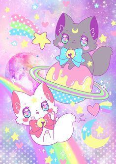 Diana and Artemis Sailor Moon dessert Neko Chibi Kawaii, Chibi Cat, Kawaii Doodles, Kawaii Cat, Kawaii Anime, Cute Kawaii Animals, Cute Animal Drawings Kawaii, Cute Cat Drawing, Cute Drawings