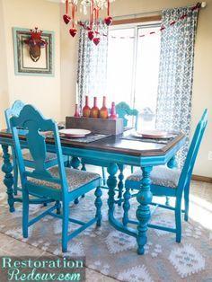 Turquoise Dining Table - Restoration Redoux http://www.restorationredoux.com/?p=7840