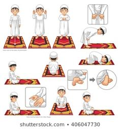 Complete Set Of Muslim Prayer Position Guide Step By Step Perform By Boy Vector Illustration Royalty Free Kliparty, Vektory A Ilustrace. Islamic Books For Kids, Islam For Kids, Learning To Pray, Learning Arabic, Ablution Islam, Tafsir Coran, Prayer Position, Islam Beliefs, Islam Muslim