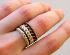 Wide band ring. Boho style ring. Hippie style ring. Ring made of Miyuki delica seed beads. Band width - 13 mm Sizes - 9(US) More peyote rings