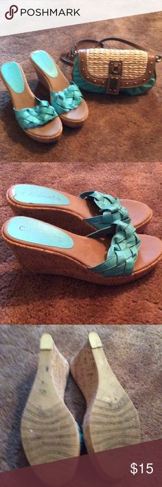"Used Sandals Cute used CoConut Sandels has one flaw which is seen in all the pics at the top back heel left shoes  but will not be seen once on your feet still in great shape Wede heel size 3""inches The same pair differen color is pictured in pic 4 both are the same size. No flaws on other shoe $20 each are $40 for both Coconut Shoes Wedges"