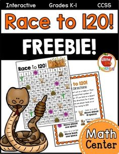 I created this interactive Race to 120 Math Center to help reinforce number identification to 120 as well as counting forward and backwards by one and ten. Students will take turns rolling a die and advancing that number of spaces on the chart. But watch out!