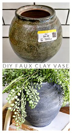 Create the look of authentic clay vases using paint, baking soda and coarse salt! #budgetdecor #budgetdecorating #fauxclaypot #diyvase #vasemakeover