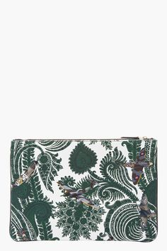 GIVENCHY Green Paisley and patent leather laptop Pouch