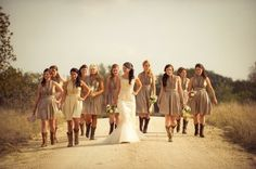 Rustic brown country wedding party