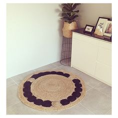 Kmart jute rug! This one has been personalised with black paint - much better!