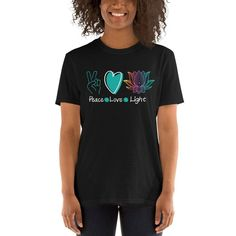 Peace Love Light Short-Sleeve Unisex T-Shirt, Yoga Shirt, Lotus Flower t-shirt, Yogi Shirt, Yoga Instructor Love And Light, Peace And Love, Just Because Gifts, Fashion Group, Unisex, Yoga, Latest Trends, Best Gifts, Spun Cotton
