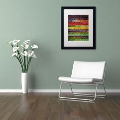 Trademark Fine Art Brocade and Stripes 3 inch Canvas Art by Michelle Calkins, White Matte, Black Frame, Size: 16 x 20