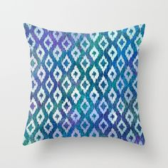 Jewel Ikat Pattern Throw Pillow
