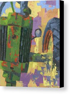 """Abstract Johnny"" gallery wrap canvas tractor fine art print by David King. This is a semi-abstract painting of a vintage. abandoned and rusty John Deere farm tractor with an odd crop and perspective, painted with palette knives. #wallart #homedecor #artprint"
