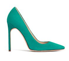 Manolo Blahnik [pointy-toe BB pump in green suede] = spring perfect