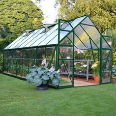 Palram 8 x 16 ft. Balance Hobby Greenhouse HG6116G #greenhouseeffect #shedplans Lean To Greenhouse, Cheap Greenhouse, Backyard Greenhouse, Greenhouse Wedding, Greenhouse Plans, Homemade Greenhouse, Dahlia, Greenhouse Interiors, Plants