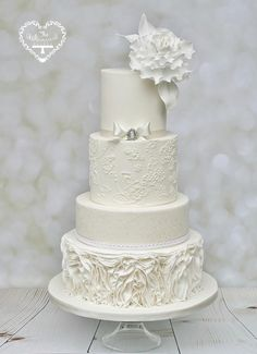 Winter White Wedding Cake by The Whimsical Cakery - http://cakesdecor.com/cakes/225354-winter-white-wedding-cake