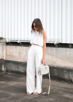 all white outfit wide leg tailored high waisted white pant with matching white crop top
