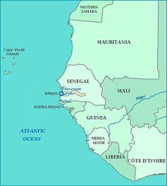 The Gambia map, Map of The Gambia, Banjul, Senegal, Mauritania, Mali, Guinea  (West Africa)