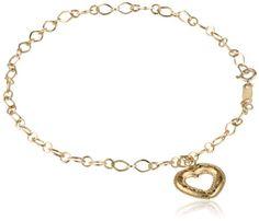 "Klassics 10k Yellow Gold Puffed Diamond Cut Dangle Heart Bracelet, 7,75"" Amazon Curated Collection http://www.amazon.com/dp/B0032FOJ98/ref=cm_sw_r_pi_dp_0RMBub1J30KTV"