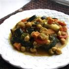 Marakesh vegetable curry.  Did some tweaking - doubled spices, used 1 can coconut milk instead of juice, used an entire bag of soaked and cooked garbanzo beans, and coconut oil instead of olive oil.    Did not have eggplant, zucchini, or almonds around so they were omitted.    I plan on making this as a freezer meal in the future.