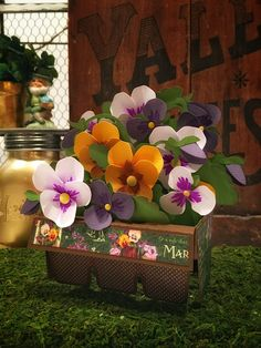 Coming soon to SVGCuts! www.svgcuts.com Pansies Box Card for Spring! #papercrafts #diy #spring