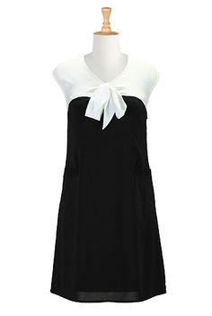 I <3 this Contrast tones crepe shift dress from eShakti
