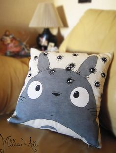 Title: Studio Ghibli hand painted pillow series / Totoro - Soot Sprites throw pillow / Pillow cover  ***Price is for pillow COVER ONLY! To add the