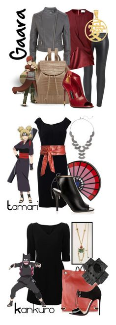 """The Sand Siblings from Naruto"" by laniocracy on Polyvore featuring The Row, Prabal Gurung, MICHAEL Michael Kors, Nancy Gonzalez, Charlotte Olympia, Dolce&Gabbana, New York & Company, Jimmy Choo, Love Generation and MM6 Maison Margiela"