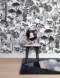 Jungle Dream in Charcoal Wallpaper by Aimee Wilder. Get lost in this nocturnal fantasy jungle-scape! Flora and fauna combine to create the ultimate dreamy pattern. Modern Wallpaper, Vinyl Wallpaper, Print Wallpaper, Designer Wallpaper, Wallpaper Jungle, Hallway Wallpaper, Bathroom Wallpaper, Kids Wallpaper, Animal Wallpaper
