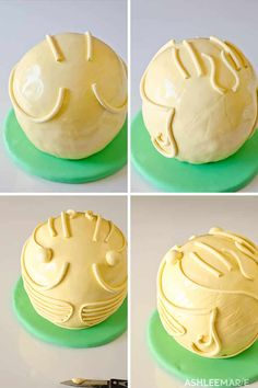 An easy and video tutorial to create your own Harry Potter Golden Snitch Cake. T… An easy and video tutorial to create your own Harry Potter Golden Snitch Cake. This uses a round cake, fondant, gold paint and edible wafer paper wings! Bolo Harry Potter, Gateau Harry Potter, Harry Potter Fiesta, Harry Potter Snitch, Harry Potter Birthday Cake, Harry Potter Food, Cupcakes, Cupcake Cakes, Cake Decorating Videos