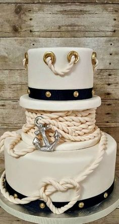 Nautical Themed Engagement Cake - Two > One - Yacht wedding Nautical Wedding Cakes, Nautical Cake, Cool Wedding Cakes, Nautical Theme, Nautical Birthday Cakes, Pretty Cakes, Beautiful Cakes, Amazing Cakes, Bolo Chanel