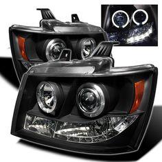 2007-2013 Chevy Suburban Black Projector Headlights - Spyder Auto - Pair - 2007, 2008, 2009, 2010, 2011, 2012, 2013.