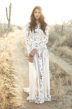 Brunette hippie/boho gal w/ waves in white Wedding dress, gown, desert, cactus, lace