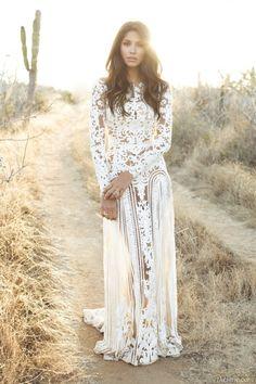 Brunette hippie/boho gal w/ waves in white Wedding dress, gown, desert, cactus, lace