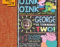 Invitación del cumpleaños de cerdo de Peppa partido por ArtAmoris