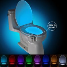 Mighty Motion Activated LED Toilet Night Light w/ 8 Colors #Eternal