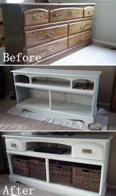DIY Furniture Makeovers: Old Look TV Stand Before and After Makeover.