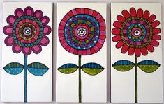 Handpainted Ceramic tiles made to order. Set of 3 feature tiles. 200mm x 100mm - by JocelynProustDesigns on madeit