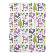 Purple Deer Personalized Baby Blanket By Jill's Paperie Easy to personalize with your baby's name!