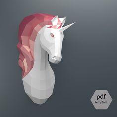 PDF Unicorn Pattern (Papercraft), Make Your Own Papercraft Unicorn Trophy: Faux Taxidermy Unicorn Template, DIY Unicorn Head, Puzzle Diy Unicorn, Unicorn Head, Unicorn Wall, Origami 3d, Paper Crafts Origami, Paper Crafting, Diy Paper, Paper Cards, Low Poly