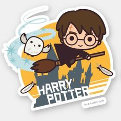 Cartoon Harry and Hedwig Flying Past Hogwarts Sticker , Cumpleaños Harry Potter, Harry Potter Stickers, Harry Potter Anime, Harry Potter Characters, Cartoon Characters, Imprimibles Harry Potter, Harry Potter Background, Desenhos Harry Potter, Cute Cartoon Pictures