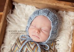 Newborn Baby Boy Knitted Bonnet Great for by EmisLittleTreasures, $17.00