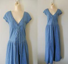 ccf07c1d1e 90s Dress Denim Maxi Dress 90s Denim Dress Blue Jean Dress Long Denim Dress  Chambray Dress 90s Maxi Dress Corset Dress Womens Spring Dress