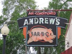 Old Andrew's Bar-B-Q Sign in East Lake, Alabama. Loved the barbeque there. The pig in the sign appeared to be running, thanks to the neon. Cool Neon Signs, Vintage Neon Signs, Vintage Ads, Bbq Signs, Retro Signage, Building Signs, Bar B Q, Neon Nights, Business Signs
