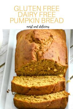 Easy pumpkin bread that is gluten and dairy free. You will never know its gluten… Easy pumpkin bread that is gluten and dairy free. You will never know its gluten free because it is so moist and delicious. It is the perfect gluten free pumpkin bread. Dessert Sans Gluten, Gluten Free Desserts, Gluten Free Recipes, Gluten Free Dairy Free Bread Recipe, Diet Recipes, Healthy Recipes, Diet Meals, Brunch Recipes, Bread Recipes