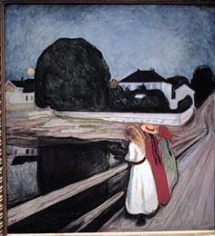 'Girls on a Jetty'  1901  ::  by Edvard MUNCH  (1863-1944)  Norwegian artist