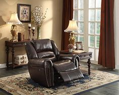 Homelegance Glider Reclining Chair, Brown Bonded Leather With plush seating that is uncommon in most traditional looks, the design of Center Hill Glider Recliner Chair, Brown Sofa, Power Recliners, Diy Chair, Reclining Sofa, Cool Chairs, Living Room Sets, Sofa Set, Upholstery