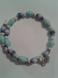 Dark and light blue paper beads on memory wire