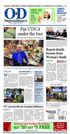 The front page for Saturday, Dec. 14, 2013: Put Utica under the tree
