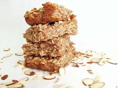 Grab-and-Go Banana Bread Oatmeal Bars - Bananas, Egg, Vanilla Extract, 1/3 C Brown Sugar, Ground Cinnamon, Old Fashioned Oats, Slivered Almonds  Can get rid of brown sugar or replace with maple or sucanat